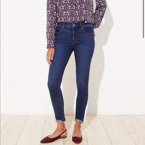 Ann Taylor Loft Curvy Chewed Hem Slim Skinny Jeans